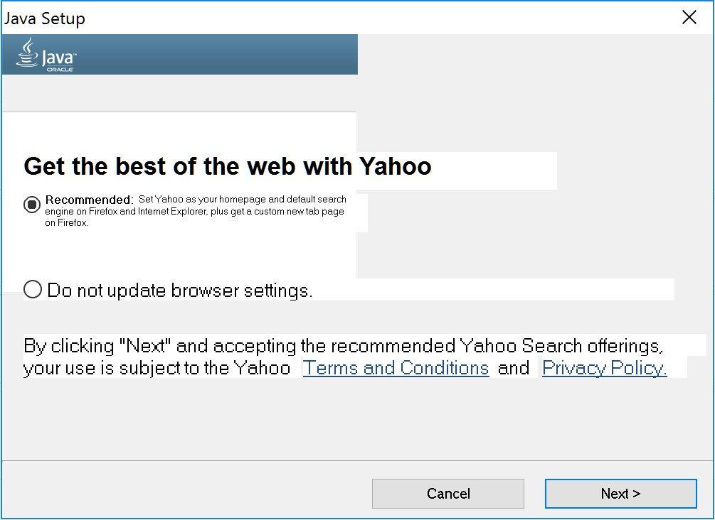 Java: Update also changes default search engine - UXP2: Dark Patterns