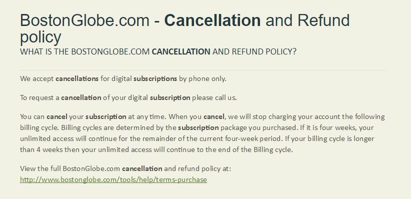 Boston Globe: Hard to Cancel Subscription - UXP2: Dark Patterns